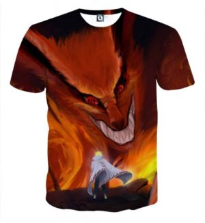 Naruto Kurama Fire Monster Fox Fan Art Dope Anime T-Shirt