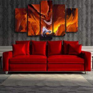 Naruto Kurama Fire Monster Fox Fanart Dope Orange 5pcs Canvas