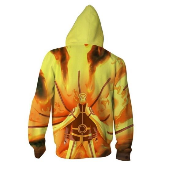 Naruto Nine-Tails Chakra Mode Vibrant Design Zip Up Hoodie