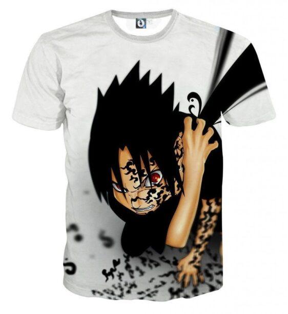 Naruto Sasuke Cursed Seal Sharingan Anime Theme T-Shirt