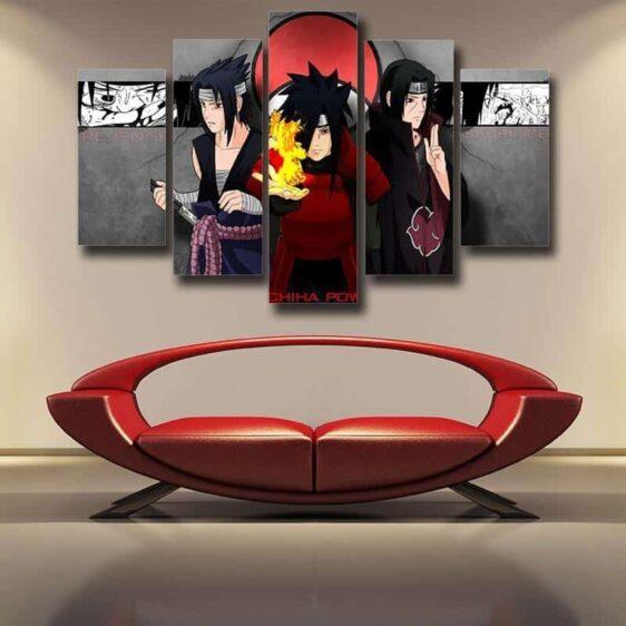 Naruto Sasuke Itachi Madara Uchiha Clan Power 5pc Canvas Prints