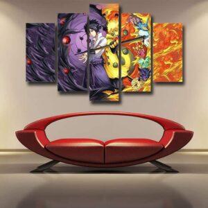 Naruto Sasuke Power Jinchuuriki Sharingan Pattern 5pcs Canvas
