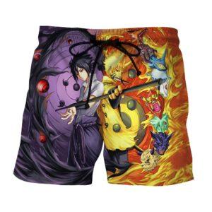 Naruto Sasuke Power Jinchuuriki Sharingan Patterned Shorts