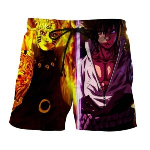 Naruto Sasuke Sage Jutsu Fan Art Portrait Summer Shorts