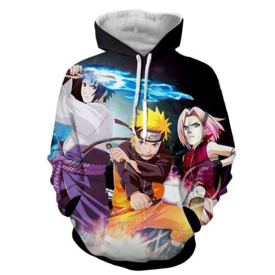 Naruto Sasuke Sakura Team 7 Shippuden Anime Cool Hoodie
