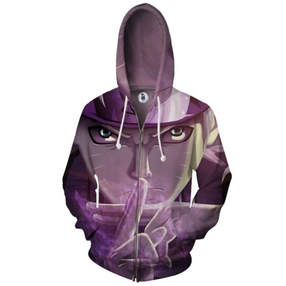 Naruto Shadow Clone Hand Sign Cool Portrait Zip Up Hoodie