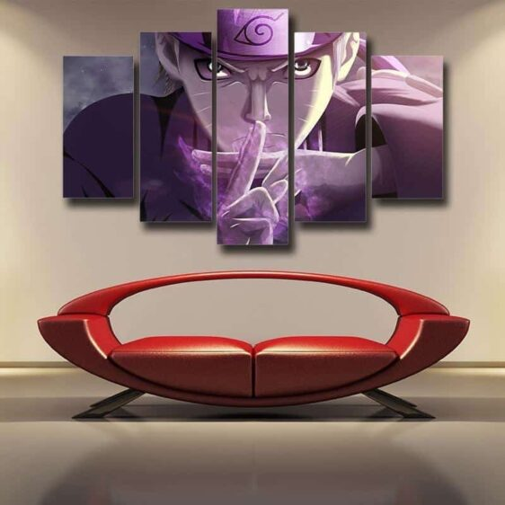 Naruto Shadow Clone Hand Sign Cool Purple 5pcs Canvas Print