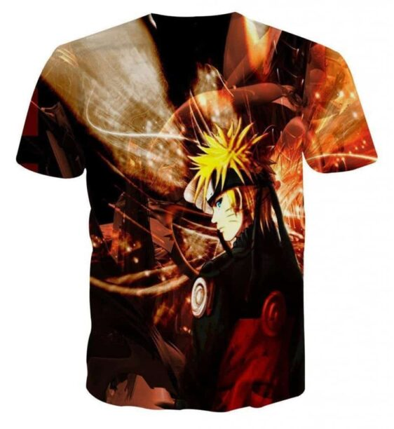 Naruto Shippuden Fan Art Fire Background Cool Design T-Shirt