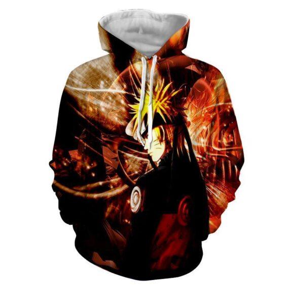 Naruto Shippuden Fan Art Fire Background Design Hoodie