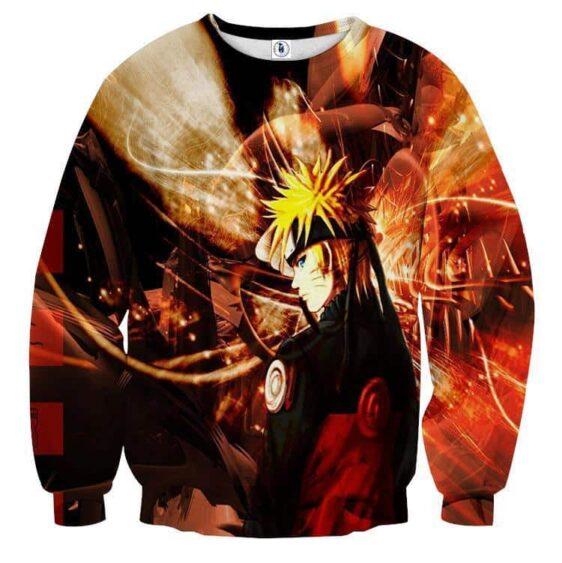 Naruto Shippuden Fan Art Fire Background Design Sweatshirt