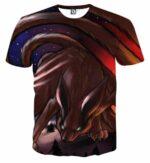 Naruto Shippuden Kurama Nine Tail Fox Fan Art Theme T-Shirt