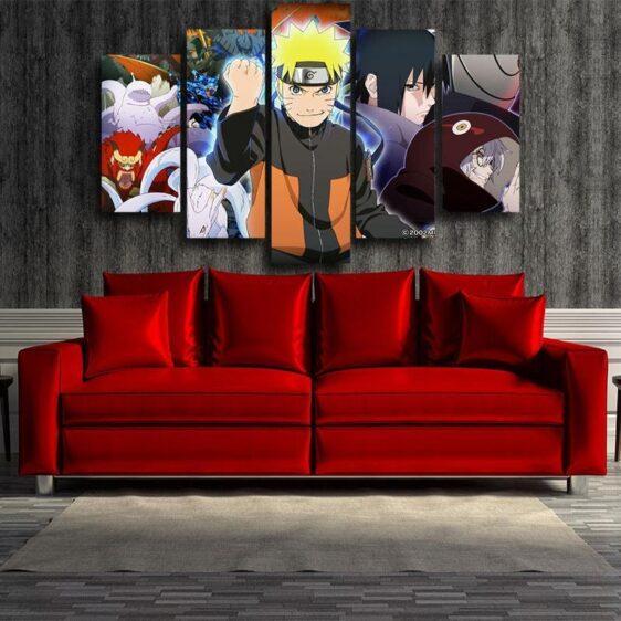 Naruto Shippuden Sasuke Fight Monster Cool Winter 5pcs Canvas