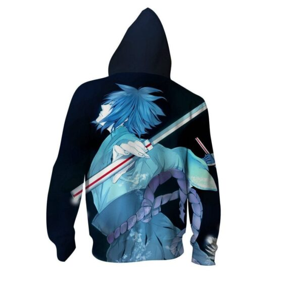 Naruto Shippuden Sasuke Katana Art Style Sketch Zip Up Hoodie
