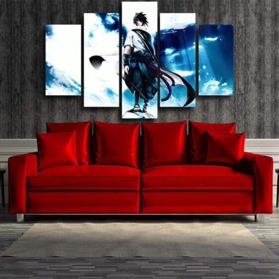 Naruto Shippuden Sasuke Uchiha Blue Sky 5pc Canvas Print Wall Art