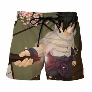Naruto Shippuden Sasuke Uchiha Fan Art Design Shorts