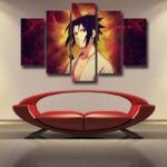 Naruto Shippuden Sasuke Uchiha Fire Release Cool 5pcs Canvas