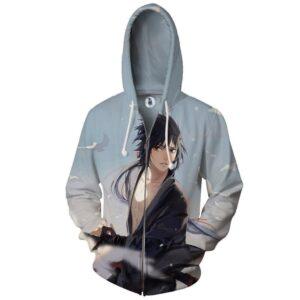 Naruto Shippuden Sasuke Uchiha Genius Ninja Cool Zip Up Hoodie