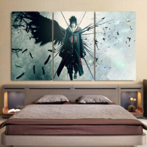 Naruto Shippuden Sasuke Uchiha Lone Ninja 3pcs Wall Art Decor