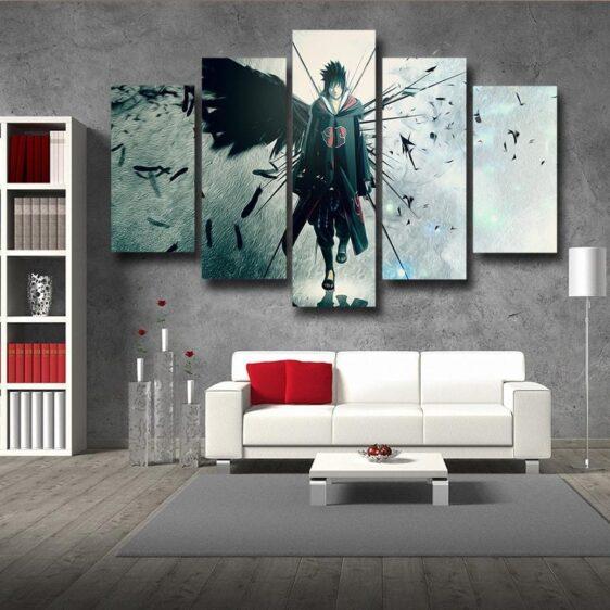 Naruto Shippuden Sasuke Uchiha Lone Ninja 5pcs Canvas Print