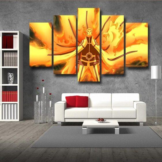Naruto Six Paths Sage Mode Flaming Dope Yellow 5pcs Wall Art