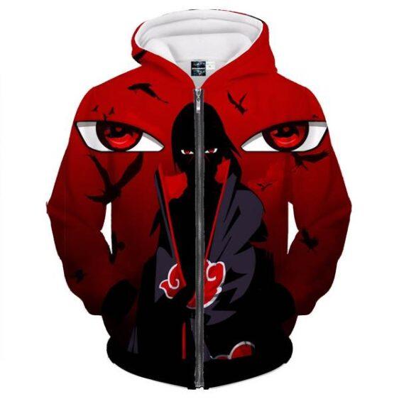 Naruto Uchiha Itachi Mangekyo Sharingan Red Zip Up Hoodie