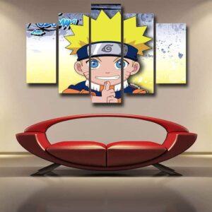 Naruto Uzumaki Chibi Style Design Cute Anime 5pcs Wall Art