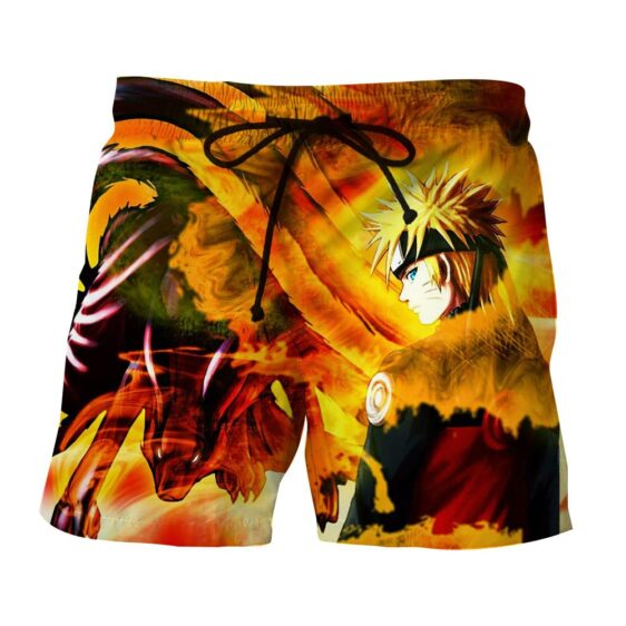 Naruto Uzumaki Kyuubi Fox Pattern Dope Art Beach Shorts