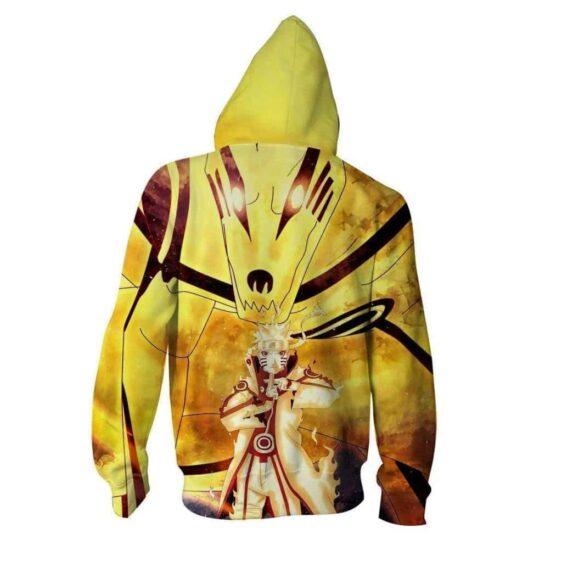 Naruto Uzumaki Shadow Clone Jutsu Cool Yellow Zip Up Hoodie