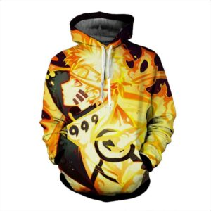 Naruto Uzumaki Six Paths Sage Mode Orange Flame Fox Hoodie