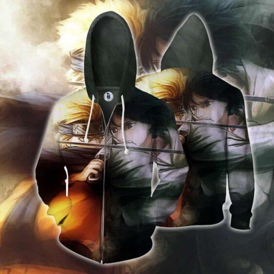 Naruto Vs Sasuke Fierce Battle Full Print Zip Up Hoodie