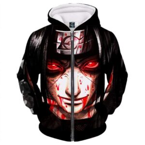 Naruto Wounded Itachi Uchiha Sharingan Bloody Zip Up Hoodie