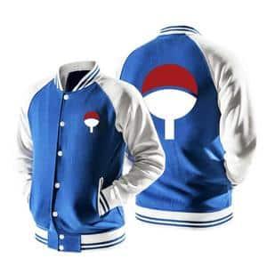 Naruto Uchiha Clan Logo Konohagakure Blue Baseball Jacket