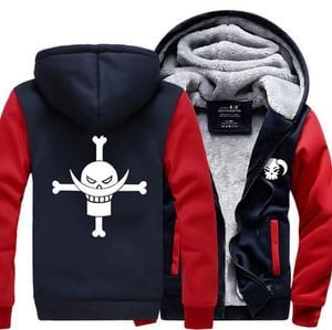 One Piece Portgas D. Ace Fire Fist Ace Symbol Red Navy Hooded Jacket