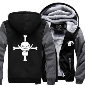 One Piece Portgas D. Ace Fire Fist Ace Symbol Gray Black Hooded Jacket