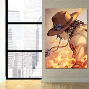 One Piece Ace Burning Flame Orange Portrait 1pc Canvas Print