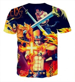 One Piece Ace Fire Symbol Fighting Scene Printed T-shirt