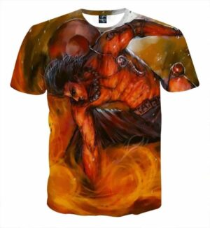One Piece Ace Powerful Flame Skill Dope Design T-Shirt