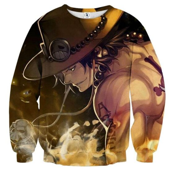 One Piece Awesome Ace Fire Fist Burning Around Sweatshirt