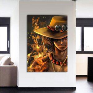 One Piece Blazing Fire Fist Ace Pirate Yellow 1pc Wall Art