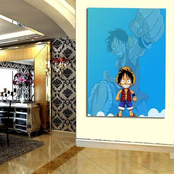 One Piece Chibi And Adult Straw Hat Luffy Blue 1pc Wall Art