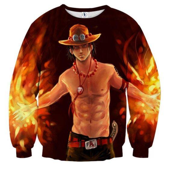 One Piece Fiery D. Ace Cool Art Style 3D Design Sweatshirt