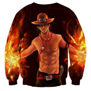One Piece Fiery D. Ace Cool Art Style 3D Design Sweatshirt