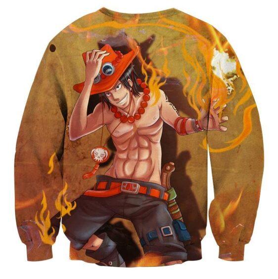 One Piece Fire Fist Ace Fiery Blazing Hot Orange Sweatshirt