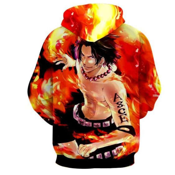 One Piece Handsome Monkey Ace Fire Fist Smiling Hoodie