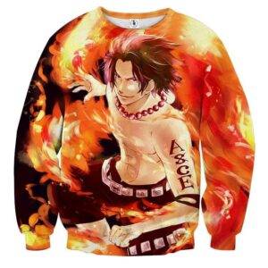 One Piece Handsome Monkey Ace Fire Fist Smiling Sweatshirt