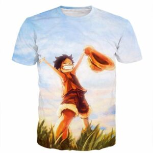 One Piece Happy Young Monkey D. Luffy Sunset Scenery 3D T-Shirt