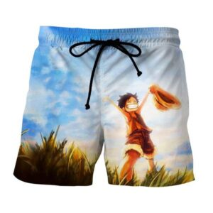One Piece Happy Young Monkey D. Luffy Sunset Scenery Boardshorts