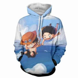 One Piece Luffy Ace Brother Jump Chibi Draw Style Design Hoodie