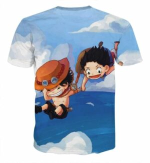 One Piece Luffy Ace Brother Jump Chibi Style Design Tshirt