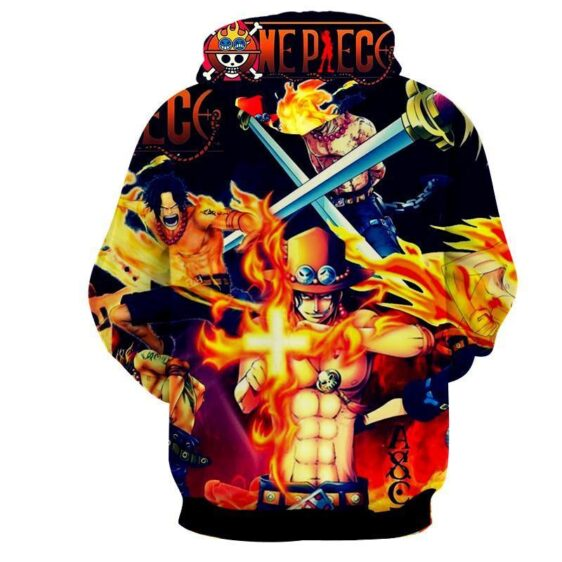 One Piece Monkey D Ace Fire Fist Burning Skill Hoodie